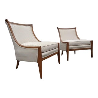 Mid Century Barrel Back Erwin Lambeth Style Slipper Club Chairs ~ a Pair For Sale