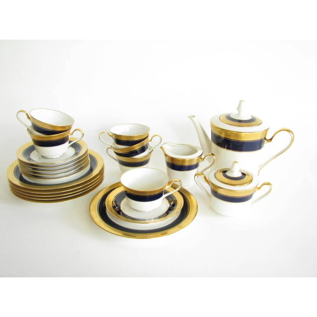 Vintage Noritake Cobalt and Gold Encrusted Band Tea Set - 21 Pieces For Sale - Image 13 of 13