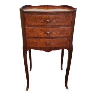 Vintage French Louis XV Style Parquetry & Floral Marquetry Inlaid Nightstand For Sale