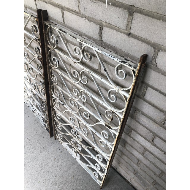 Metal 19th Century Victorian Wrought Iron Balustrade Sections - a Pair For Sale - Image 7 of 13