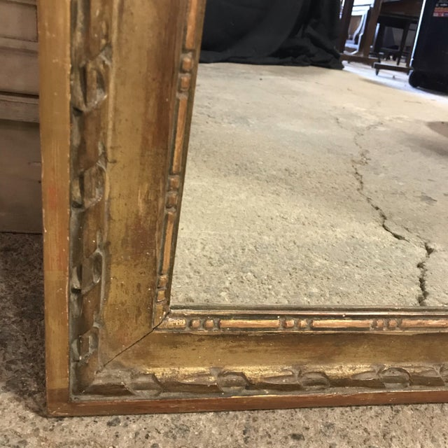 Large French Antique Giltwood Mirror With Ribbon Bow For Sale - Image 11 of 12