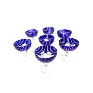 1980s Ajka Design Guild Blue Crystal Cut Stemmed Goblets - Set of 7 For Sale