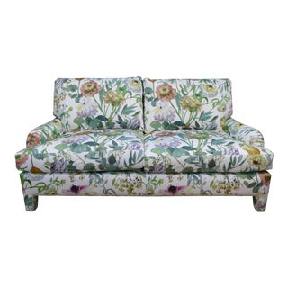 1990s Floral Upholstered English Arm Sofa For Sale