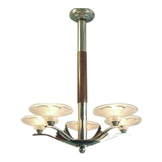 Mid-Century French Chandelier Chrome With Five Lights For Sale