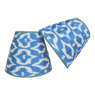Blue and White Ikat Lampshades - a Pair For Sale