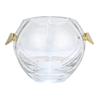 Baccarat Modernist Crystal and Gilt Bronze Handled Ice Bucket For Sale