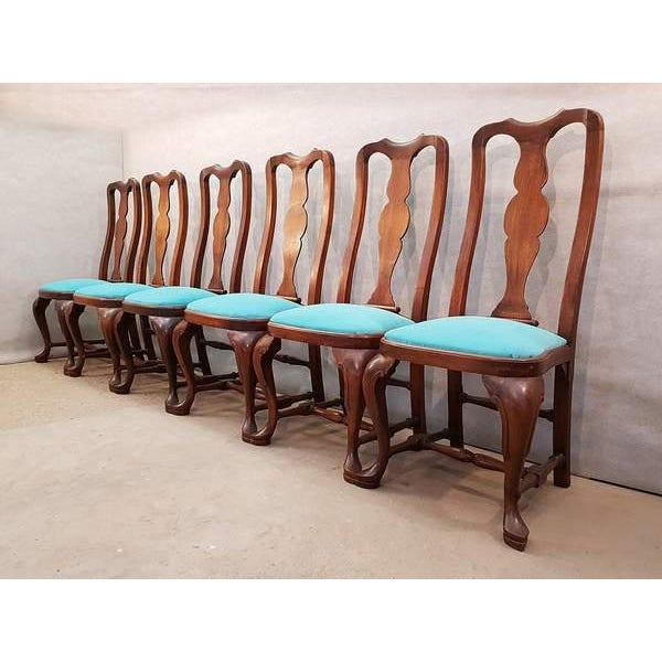 Chippendale French Antique Chippendale Queen Anne Style Walnut Turquoise Blue Reupholstered Dining Chairs - Set of 6 For Sale - Image 3 of 13