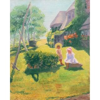 'Summer Days', American School (20th Century), Idyllic American Landscape, Children, Arts & Crafts Architecture For Sale