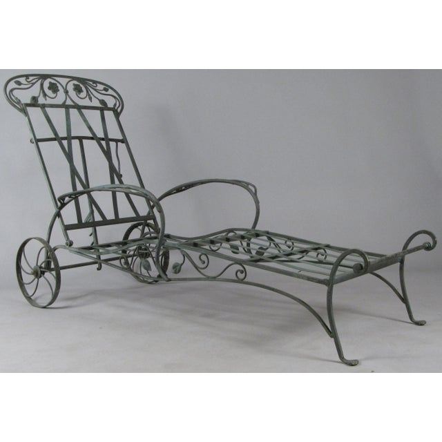 Gray Wrought Iron Chaise Lounges by Salterini, Circa 1950 - a Pair For Sale - Image 8 of 9