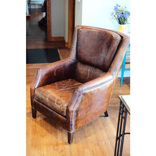 Animal Skin Vintage Shabby Chic Leather Chair For Sale - Image 7 of 7