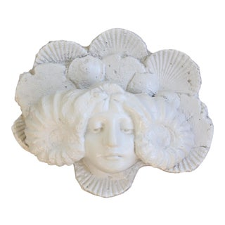 Vintage Art Nouveau Style Female Face Wall Plaque / Planter With Shell Motif For Sale
