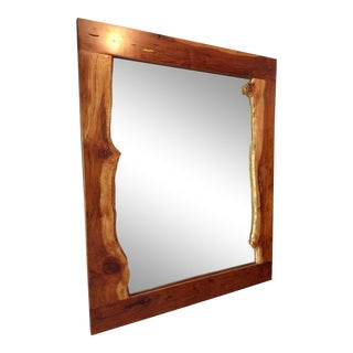 Cherry Wood Natural Live Edge Mirror For Sale