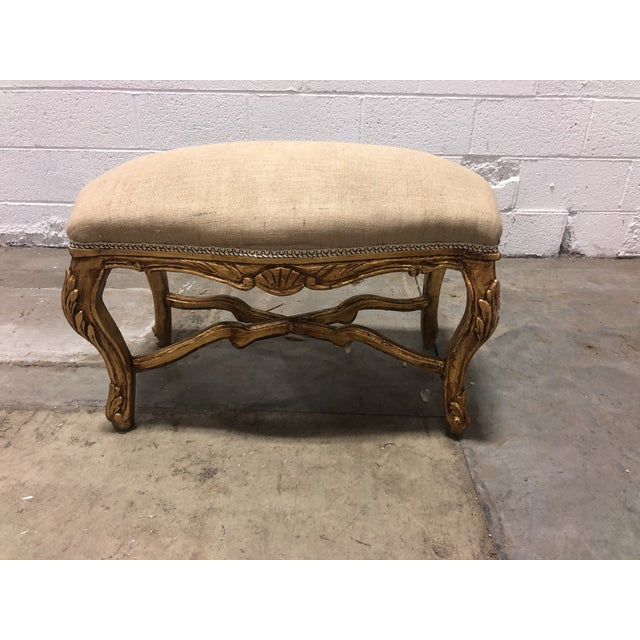 Mid 20th Century Vintage Louis XV Giltwood Curved Top Bench For Sale - Image 5 of 5