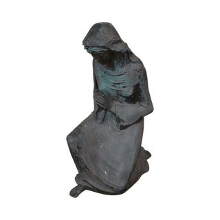 Large Antique Bronze Garden Statue of Woman Praying For Sale