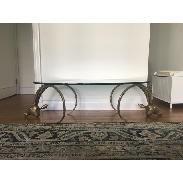 Brass Ibex Heads Mid-Century Coffee Table For Sale In New York - Image 6 of 6