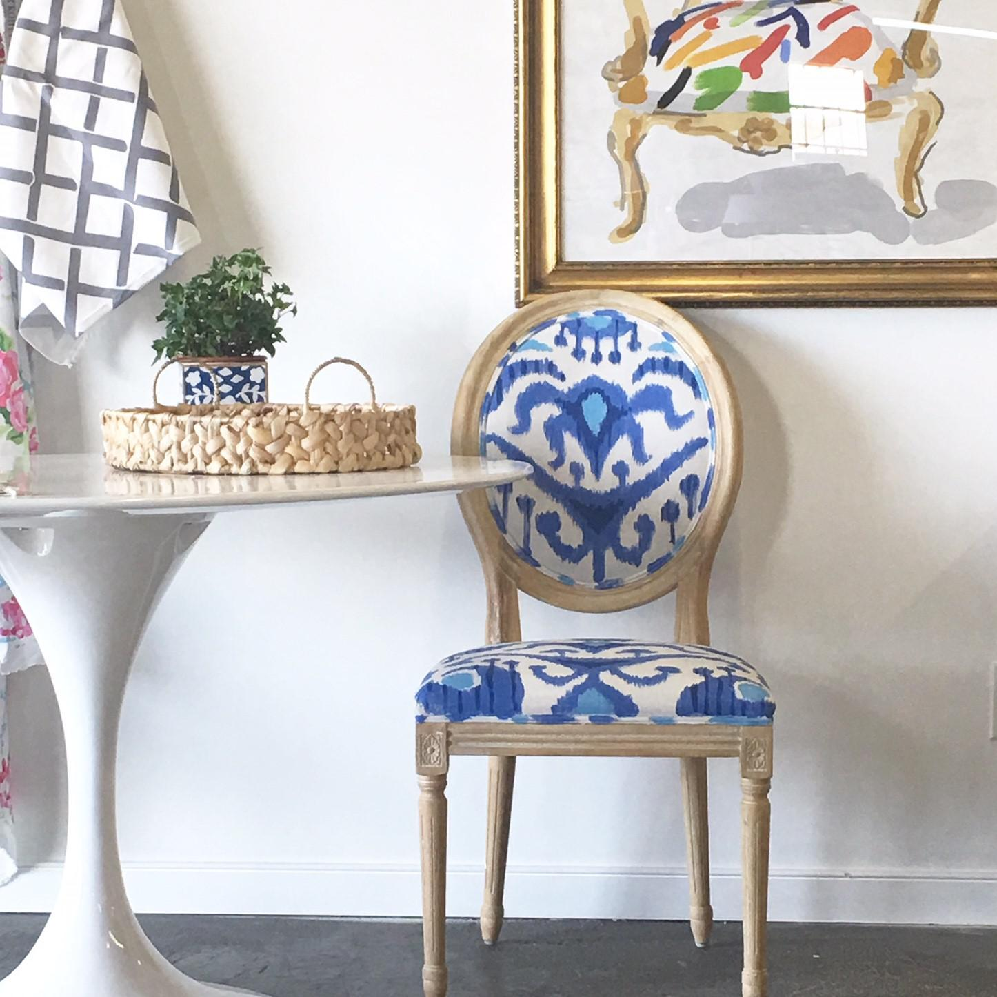 Lovely Occasional Chair Hand Painted In A Lush Exotic Pattern. Navy Blue,  Periwinkle And