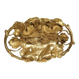 Early 20th Century Vintage Italian Grape Leaf Brass Cast Metal Tray For Sale