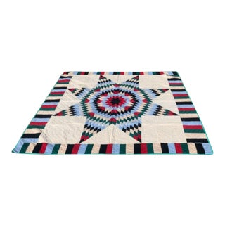 Antique Quilt, 20th Century Star Quilt With Striped Border For Sale