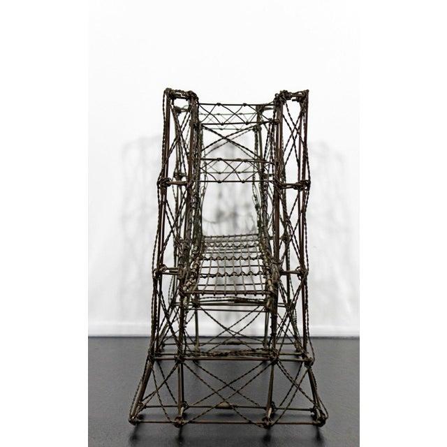 Metal Mid Century Modern Vintage Brutalist Wire Bridge Table Sclupture For Sale - Image 7 of 10