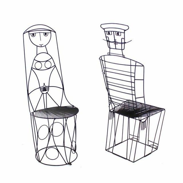 Black John Risley Four Pieces Welded Wire Outdoor Dining Dinette Set For Sale - Image 8 of 10