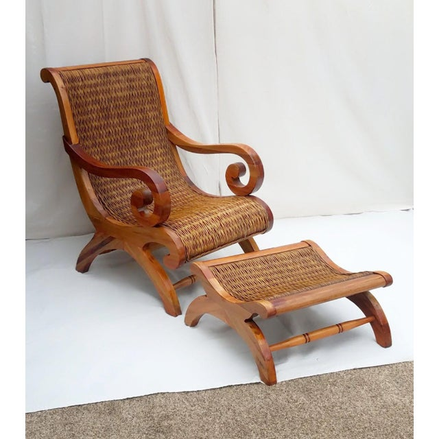 English 1960's Vintage West Indies British Colonial Style Teak & Cane Plantation Chair & Ottoman For Sale - Image 3 of 7