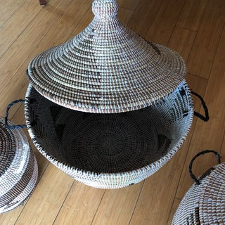 Geometric Hand Woven Monochromatic Baskets- Set of 3 Preview
