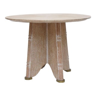 Fine French Cerused Oak Gueridon Table by Jules Leleu For Sale