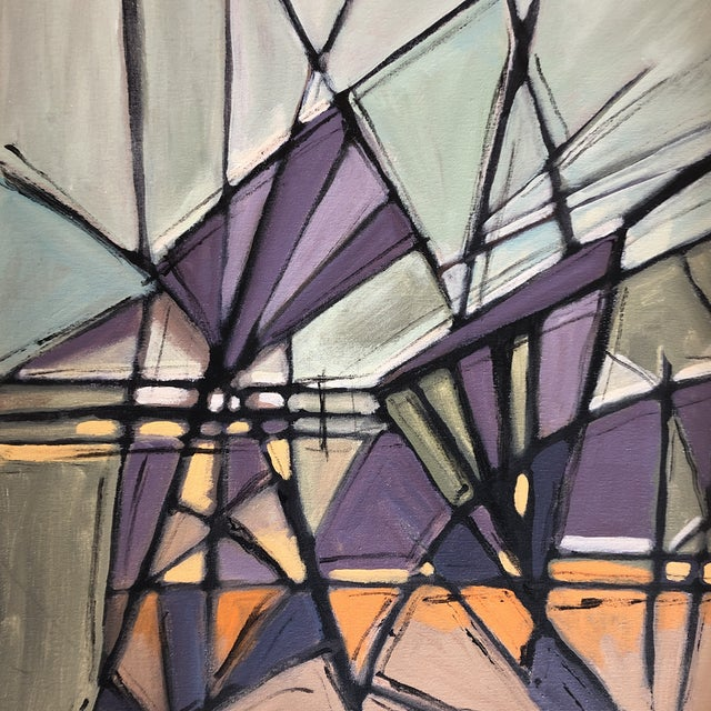 """Abstract Original Contemporary Stephen Heigh Abstract Painting """"Purple Mountain Magesty"""" For Sale - Image 3 of 5"""