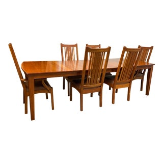 Fenton McLaren Mission Style Extensions Table + Eight Chairs Dining Set For Sale