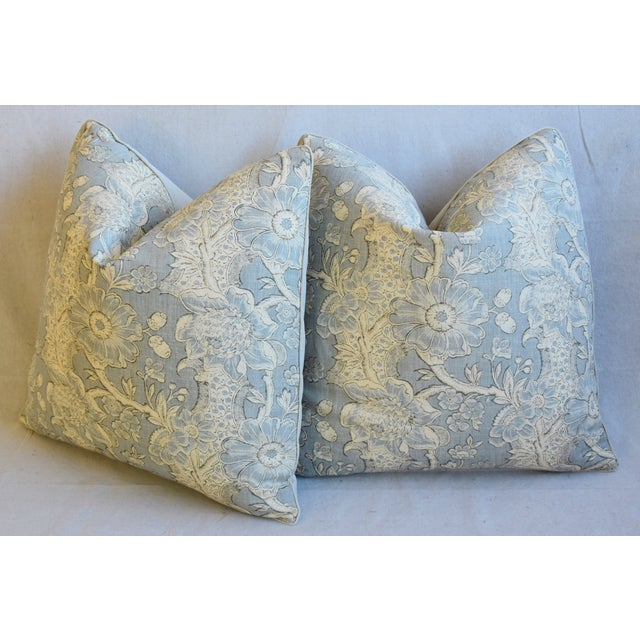 "Designer Hodsoll Camellia/Acorn Linen Feather/Down Pillows 21"" Square - Pair For Sale - Image 9 of 13"