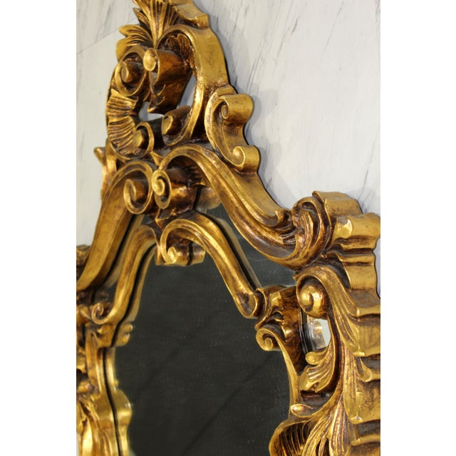 Early 20th Century Rococo Hollywood Regency Style Gold Gilt Leaf Hanging Wall Mirrors - a Pair For Sale - Image 5 of 6