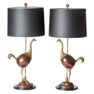 Hollywood Regency Rare Bronze & Wood Ostrich Table Lamps, A-Pair For Sale