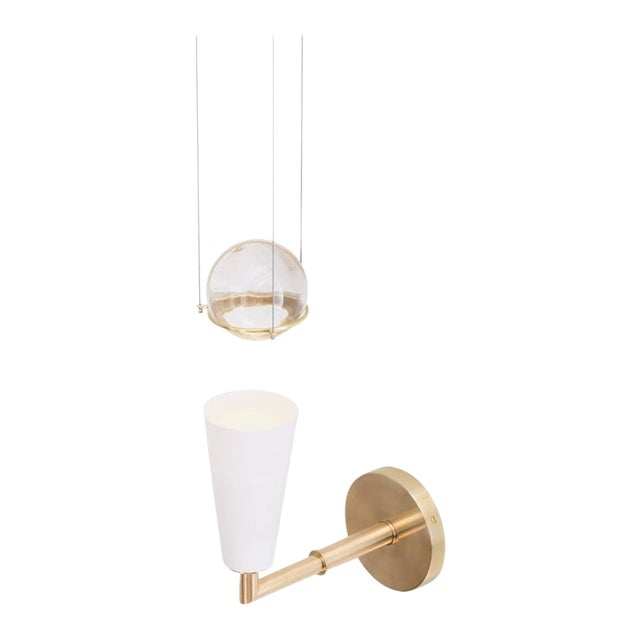Contemporary Grace White Porcelain Shade and Suspended Glass Sphere Brass Sconce For Sale - Image 9 of 9