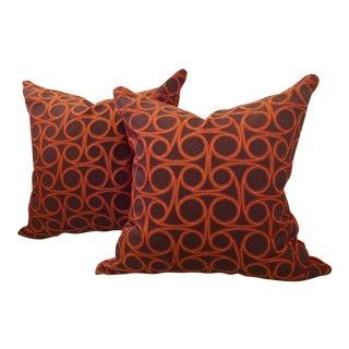 Kravet Orange Circle Jacquard/Pollack Orange Silk Velvet Pillows - a Pair For Sale