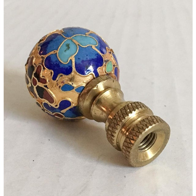 Vintage Cloisonne Floral Lamp Finial For Sale In Richmond - Image 6 of 6