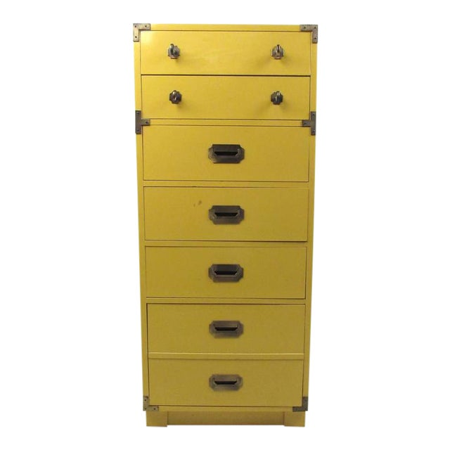Vintage Modern Campaign Style Chest of Drawers For Sale