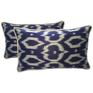 Navy Blue & Gray Silk Atlas Ikat Pillows - A Pair For Sale