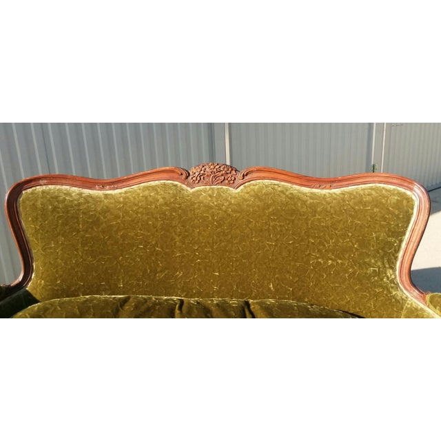 Antique Victorian Velvet Sofa Settee Green For Sale In Los Angeles - Image 6 of 13