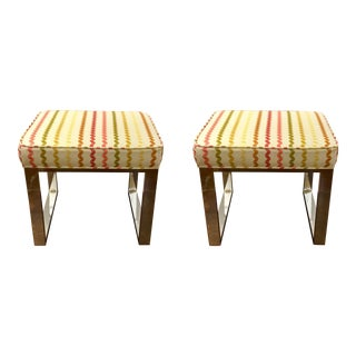 Pair of Polished Nickle Dylan Benches For Sale
