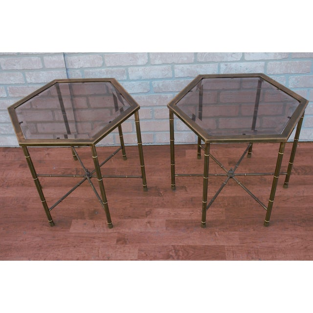 1970s 1970s Mid Century Modern Mastercraft Faux Bamboo Side Tables - A Pair For Sale - Image 5 of 10