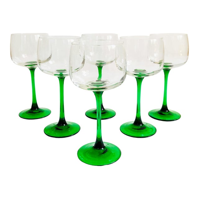 Vintage Green Stemmed Wine Glasses - Set of 6 For Sale