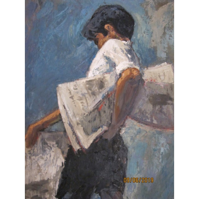 Contemporary 1970s Vintage John Fulton Short Boy Matador With Newspaper Oil Painting For Sale - Image 3 of 9