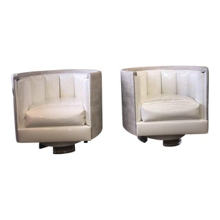 Mid Century Modern Patent Leather Oak Barrel Chairs-A Pair For Sale