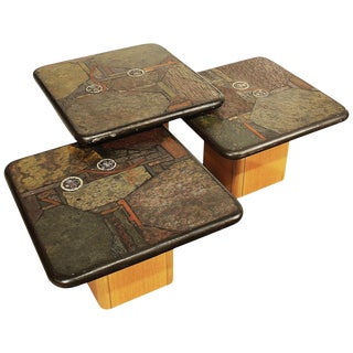 1990, 3 Coffee Tables Set by Kneip, Oak, Slate, Copper, Brass Marquetry - Germany For Sale