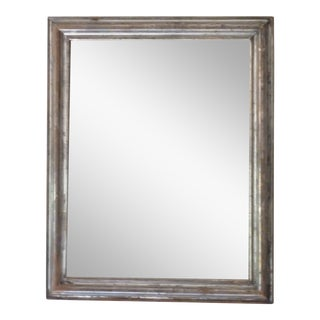 Pewter Tone Silver-Leaf Mirror For Sale