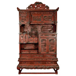 Grand Scale 19th Century Asian Cinnabar Cabinet For Sale