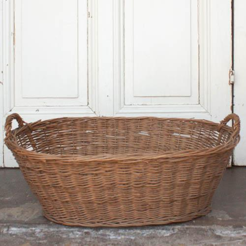 Oval Vintage French Laundry Basket - Image 2 of 8