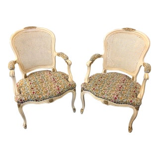 Late 19th Century Antique French Provincial Style Cane Back Chairs - A Pair For Sale