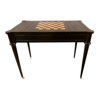 Louis XVI Style Hollywood Regency Ebony Game or Card Table