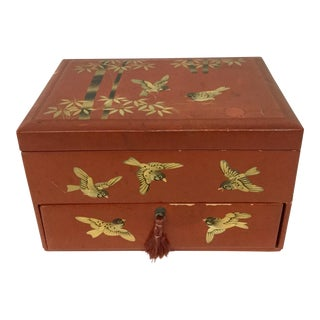 1930s Vintage Japanese Lacquerware Hand-Painted Jewelry Box For Sale